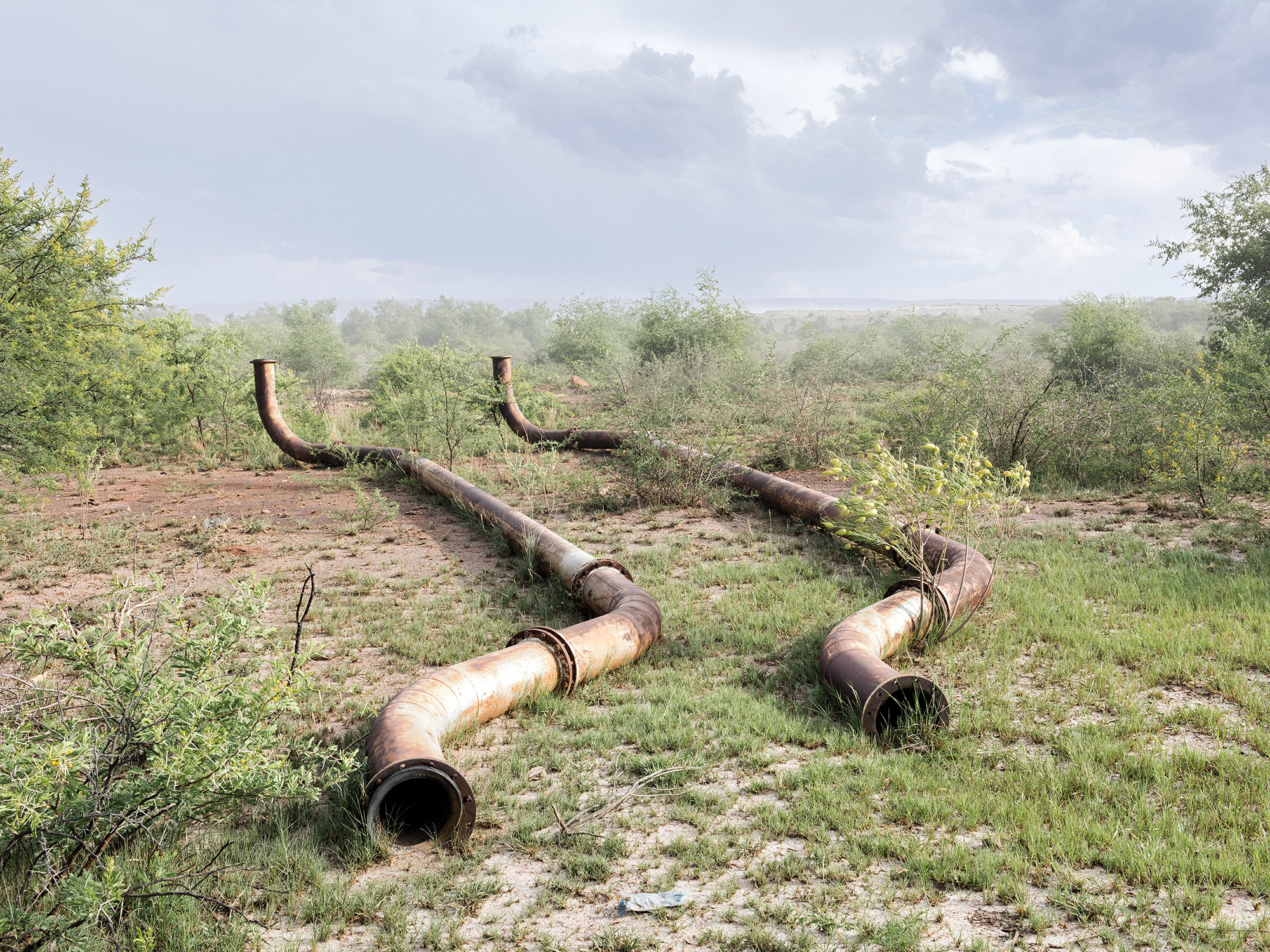 Water pipes, Fraser Alexander Tailings (Lonmin – Western Plats – Dam 5 Tailings Complex), Wonderkop, Marikana, North West, Western Limb